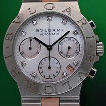 Bulgari Diagono 35mm Automatic Chronograph MOP Diamonds B&P