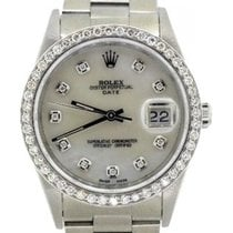 Rolex Date Men's 34mm White Mother Of Pearl Dial Stainless...
