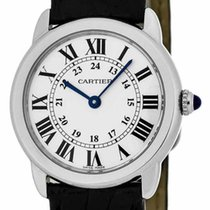Cartier Ronde 29.5MM Silver Opaline Dial Black Leather...