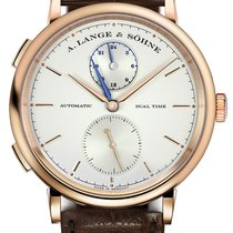 A. Lange & Söhne Saxonia Dual Time 18k Rose Gold Leather...