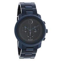 Movado Bold Mens Blue Finish Swiss Chronograph Quartz Watch...