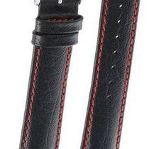 Hirsch Uhrenarmband Leder Jumper schwarz/rot L 04402051-2-22 22mm
