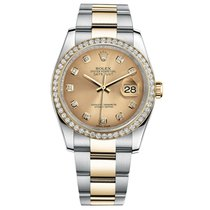 Rolex DATEJUST 36mm Steel & 18K Yellow Gold Diamond Bezel