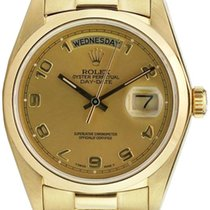 Rolex Day-Date 36 118208-GLDADP Champagne Arabic Yellow Gold...
