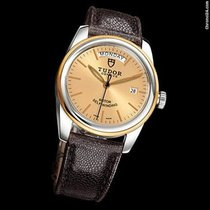 Tudor Glamour Day-Date 39 Mm Brown Leather Strap