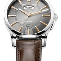 Maurice Lacroix Pontos Day/Date Grey Dial, Gold Index, Brown...