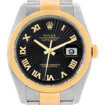 Rolex Datejust Mens Steel 18k Yellow Gold Black Dial Watch 116203