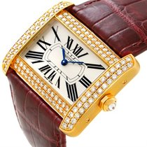 Cartier Tank Divan 18kt Yellow Gold Diamond Men's Watch