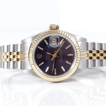 Rolex Ladies 18K/SS Datejust - Blue Stick Marker Dial 69173