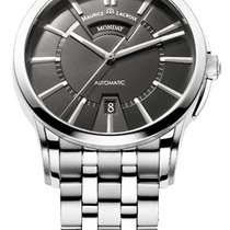 Maurice Lacroix Pontos Day/Date Black Dial Silver Index, Steel...