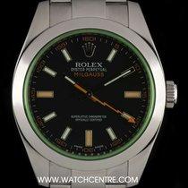 Rolex Stainless Steel Green Glass Milgauss Gents B&P 116400GV