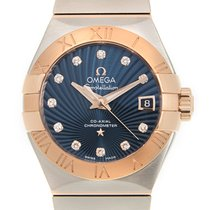 Omega Constellation 18k Rose Gold And Steel Blue Automatic...
