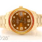 Rolex Pearlmaster 86348SAJOR Gelbgold 39mm Cognac Dial Full Set