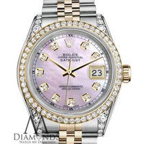 Rolex Stainless Steel And Gold 26 Mm Datejust Watch Pink Mop...