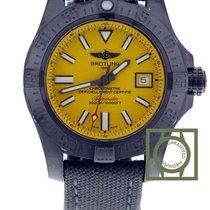 Breitling Avenger II Seawolf  blacksteel Yellow Dial Textile...
