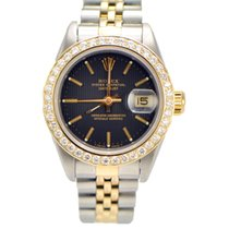 Rolex Ladies Datejust 2-tone Diamond Bezel 69173 Black Dial
