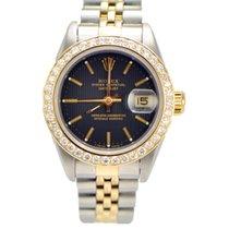 Rolex Ladies Datejust 2-tone Diamond Bezel 69173 Black Dial