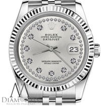 Rolex 26mm Datejust Silver String Diamond Accent Numbers Dial...