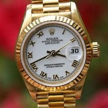 Rolex President Ladies 26mm 18k Yellow Gold 69178 White Roman...