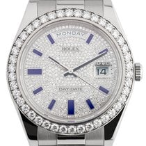 Rolex Day-Date 41 White Gold Diamond-Paved Blue Enamel Hour...