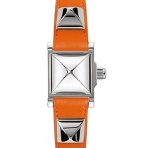 Hermès Medor Silver Dial Ladies Orange Leather Watch