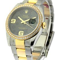 Rolex Unworn 116243_grn_floral Mens 2-Tone Datejust with...