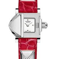 Hermès Medor White Dial Ladies Red Leather Diamond Watch