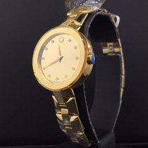 Movado Sapphire Ladies 28mm Yellow Mirror Diamond Dial Diamond...