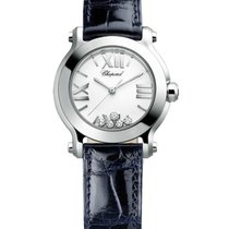 Chopard 278509-3001 Happy Sport Round in Steel - On BlueLeathe...
