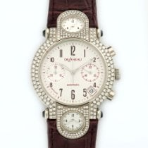 DeLaneau White Gold 3-Time Zone Diamond Chronograph Watch