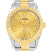 Rolex Non Date Steel 18k Yellow Gold Mens Watch 14233 Box Papers
