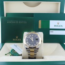 Rolex Datejust II 116333 Black Roman Fluted Yellow Gold Stai