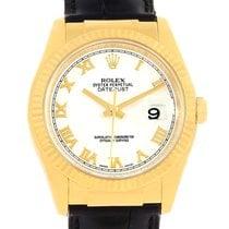Rolex Datejust 18k Yellow Gold Black Strap Mens Watch 116138