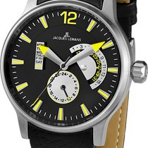 Jacques Lemans 1-1741 Gents Leather 44mm Stainless Steel Case...