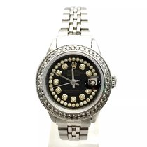Rolex Oyster Perpetual Datejust Steel Ladies Watch W/ Black...