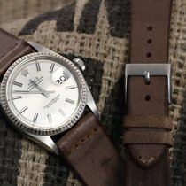 Vintage leather watchstrap  Brown leather with a single stitch