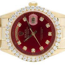 Rolex Mens Rolex President 18K Yellow Gold Day-Date 36MM Red...