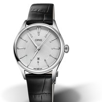 Oris CULTURA ARTELIER DATE DIAMONDS Silver Dial-Black Leather