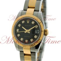 Rolex Datejust Ladies 26mm, Black Jubilee Diamond Dial, Fluted...