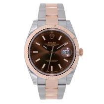 Rolex DATEJUST 41 Steel & 18K Rose Gold Watch Chocolate Dial