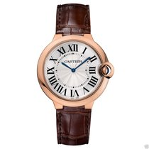 Cartier Ballon Bleu 40mm w6920083 18kt Rose Gold Leather Strap...
