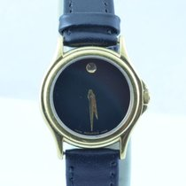 Movado Museum Watch Uhr Rar Stahl Top 25mm Quartz Vergoldet