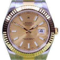 Rolex Datejust II 116333 Men's 41mm Champagne Index 18k...