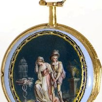 Rival a Paris decorative 18K gold enamel verge pocket watch