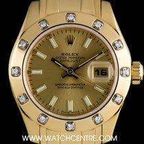 Rolex 18k Y/G O/P Diamond Set Pearlmaster Datejust B&P 80318