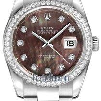Rolex Datejust 36mm Stainless Steel 116244 Black MOP Diamond...