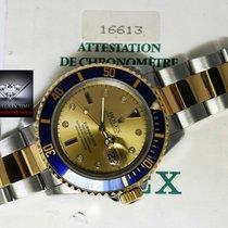 Rolex Submariner 18k Gold/Steel Serti Diamond Dial Watch...
