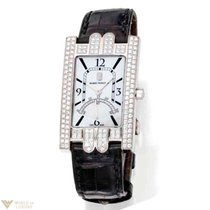 Harry Winston Avenue Diamond 18K White Gold Leather Women`s Watch