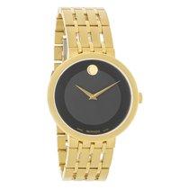 Movado Esperanza Mens Gold Tone Black Dial Swiss Quartz Watch...