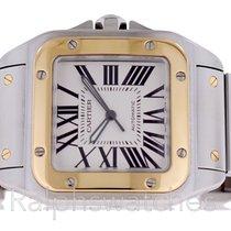 Cartier Santos 100 XL W20072X7 2656 Mens Watch 18K Gold SS...